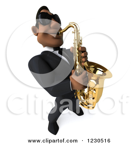 Clipart of a 3d Black Man in a Suit and Sunglasses, Playing a.