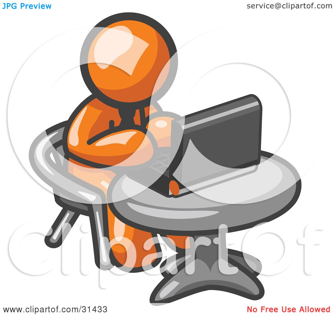 Clipart Illustration of an Orange Man Working On A Laptop Computer.