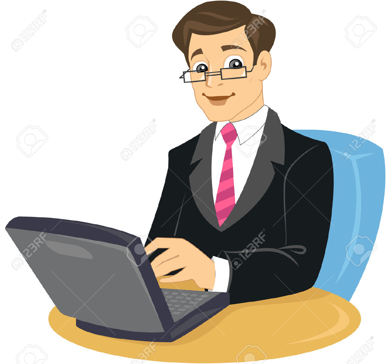 Man Working On Laptop Clipart.
