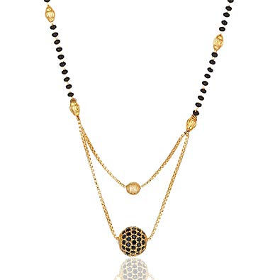 Gems Collection Round Black rubby Gold Plated Jewellery Mangalsutra Pendant  Necklace with Chain for Girls and Women..