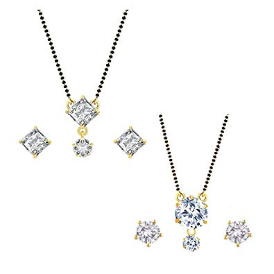 WUJO Gold Plated Mangalsutra with Chain and Stud Earrings Jewellery Set for  Women.