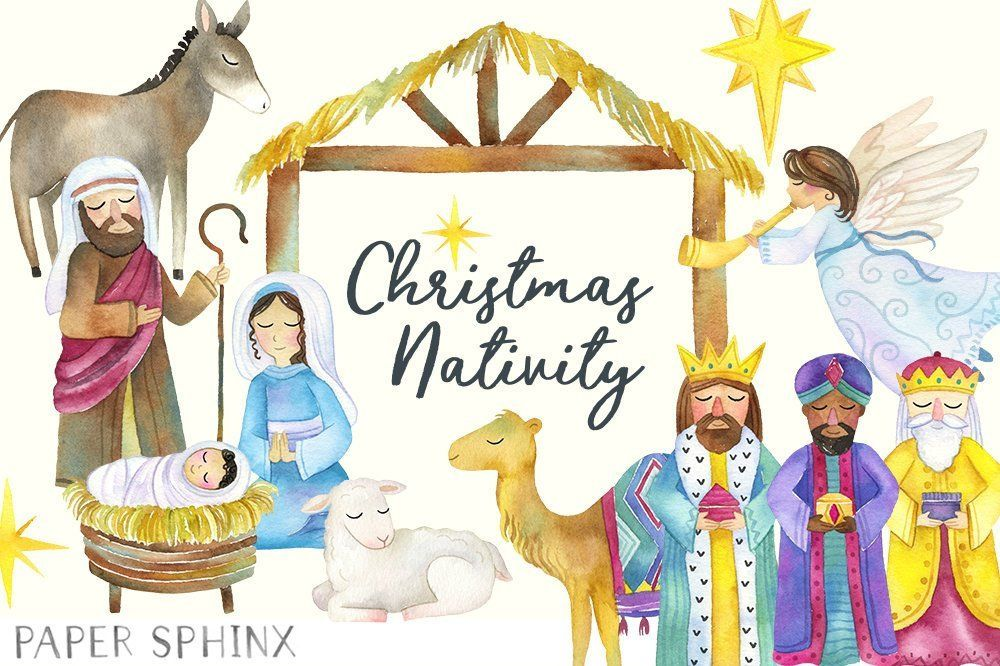 Watercolor Nativity Clipart.