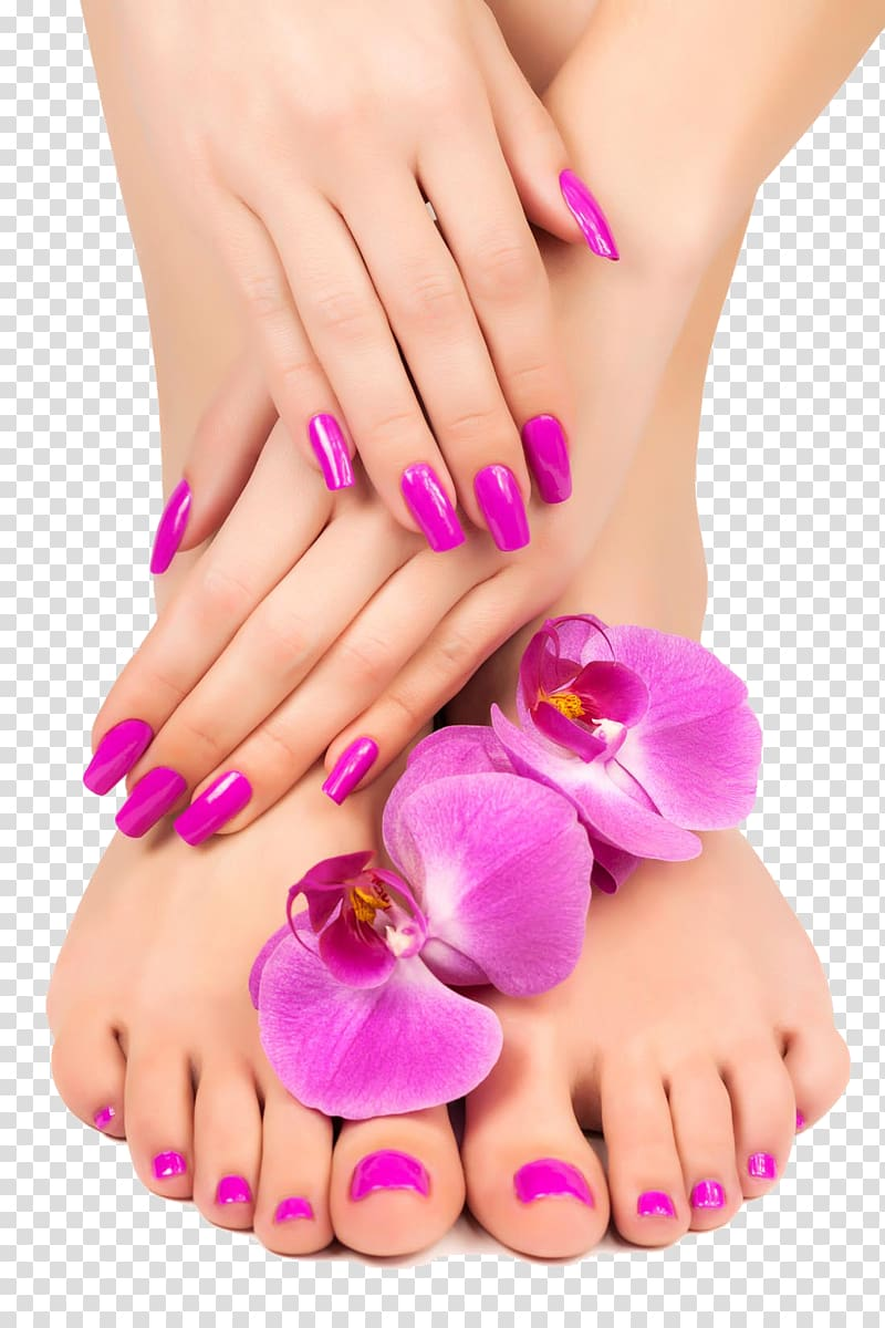 Manicure Pedicure Nail Lotion Massage, Feet and hand close.
