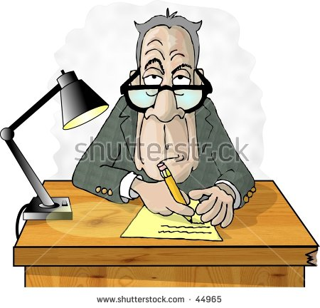 Clipart Illustration Of A Man At A Desk.