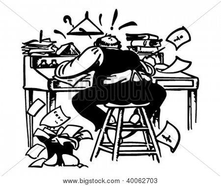Mann arbeitet wie verrückt am Schreibtisch.