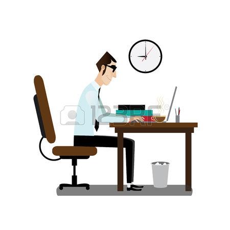 Schreibtisch büro clipart  clipart mann am schreibtisch - Clipground