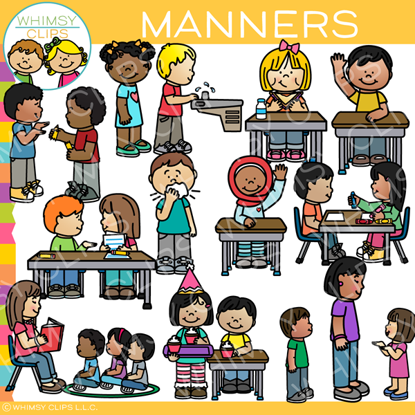 Kids with Manners Clip Art.