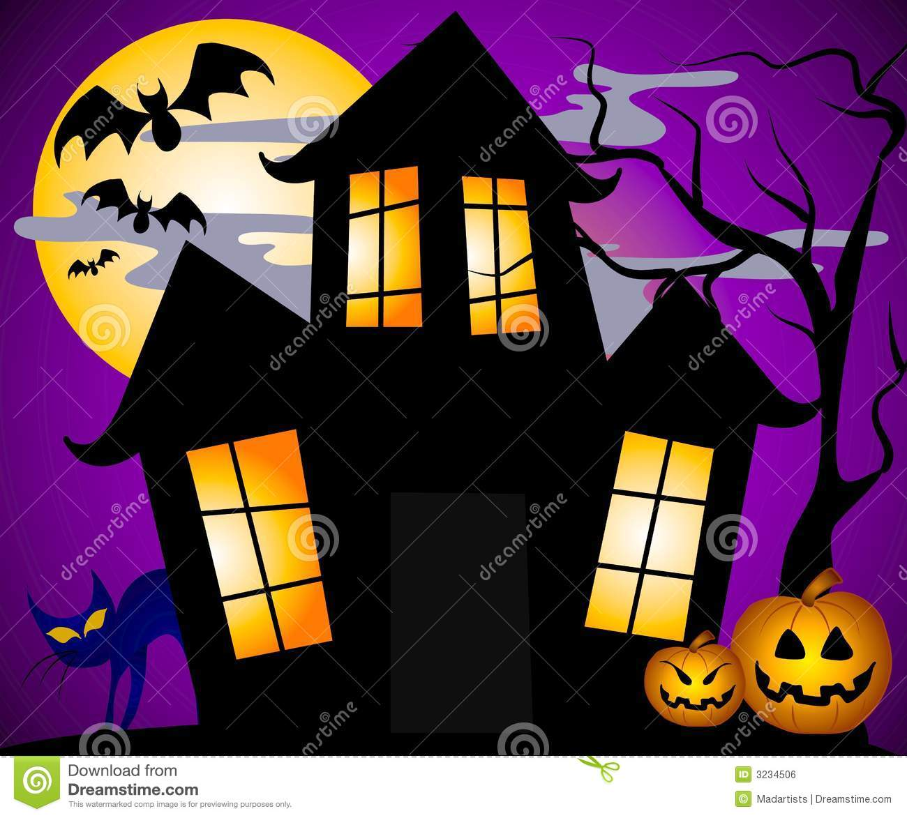 Haunted house scene clipart.
