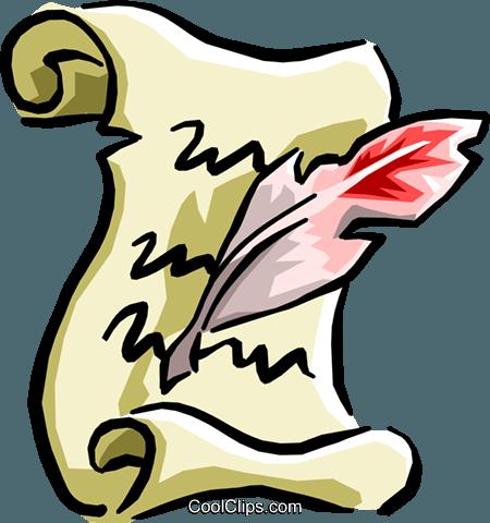 manuscript with quill pen Royalty Free Vector Clip Art.