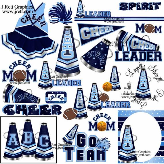 Cheer clipart MANY COLORS, 50+ graphics, navy light blue cheerleading  clipart, cheerleader party clip art, pom poms, megaphone clipart.