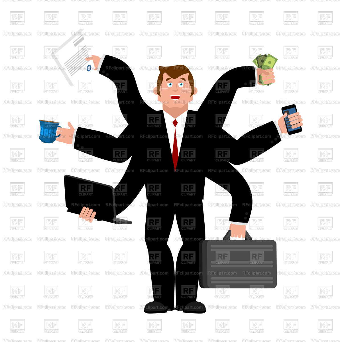 Businessman with many hands Stock Vector Image.