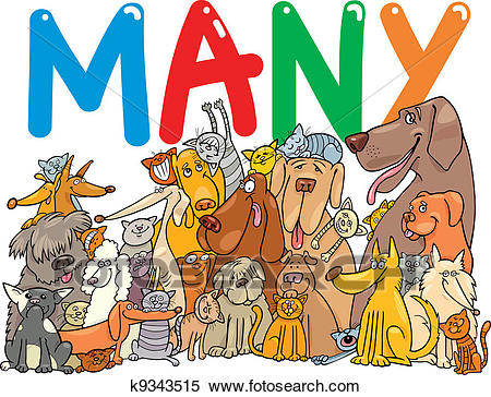 Group of many dogs and cats Clipart.