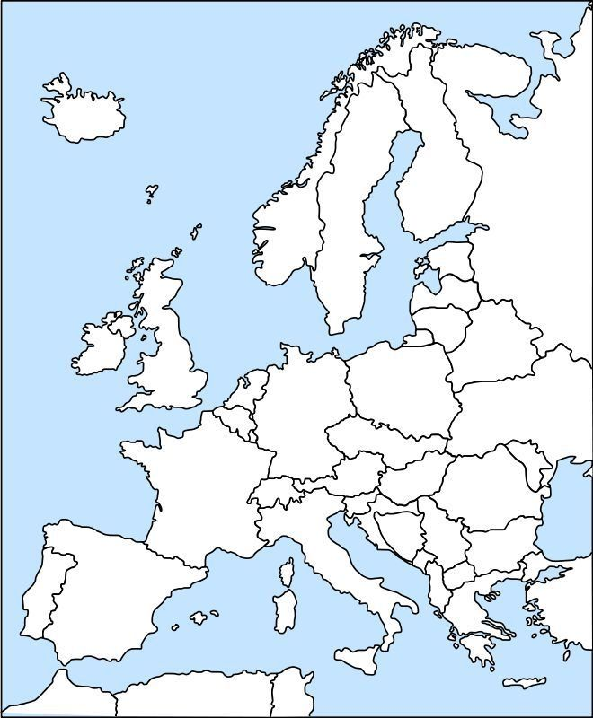 Map of Europe outline.