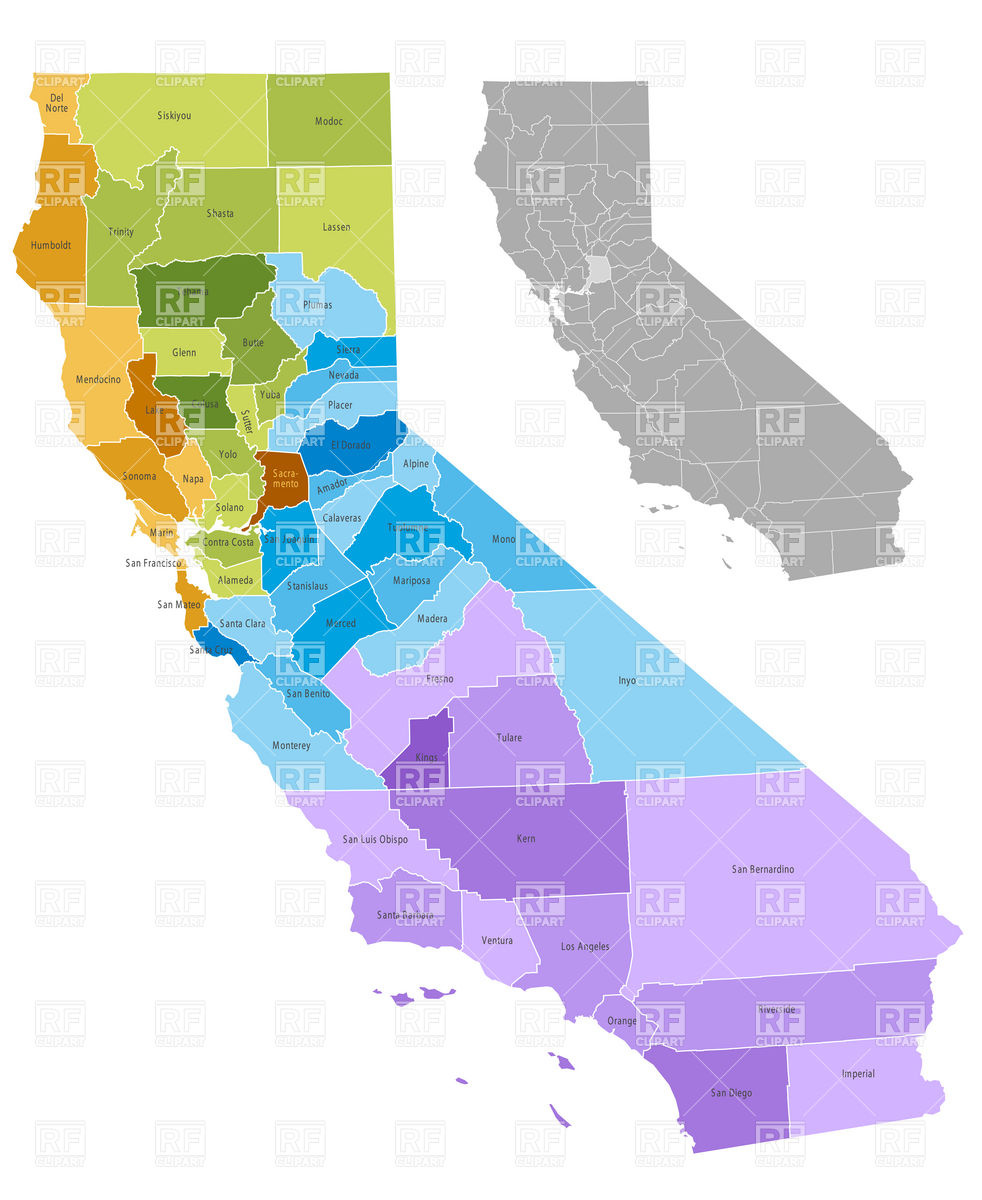 California state counties map with boundaries and names Stock Vector Image.