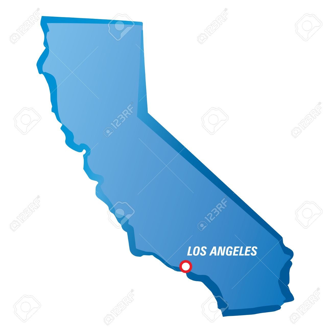 Map of California and Los Angeles. Vector Illustration..