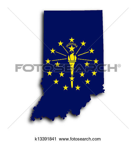 Clipart of Map of Indiana k13391841.