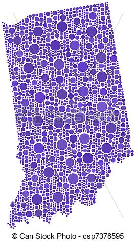 Clipart Vector of Map of Indiana (USA).