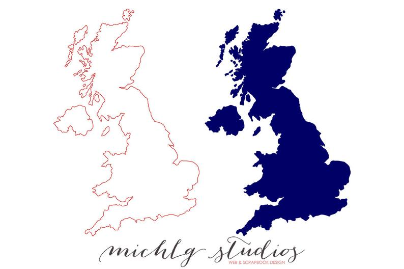 Vector & PNG UK clipart, map clip art,state, country, silhouette, printable.
