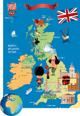Cartoon Map of UK.