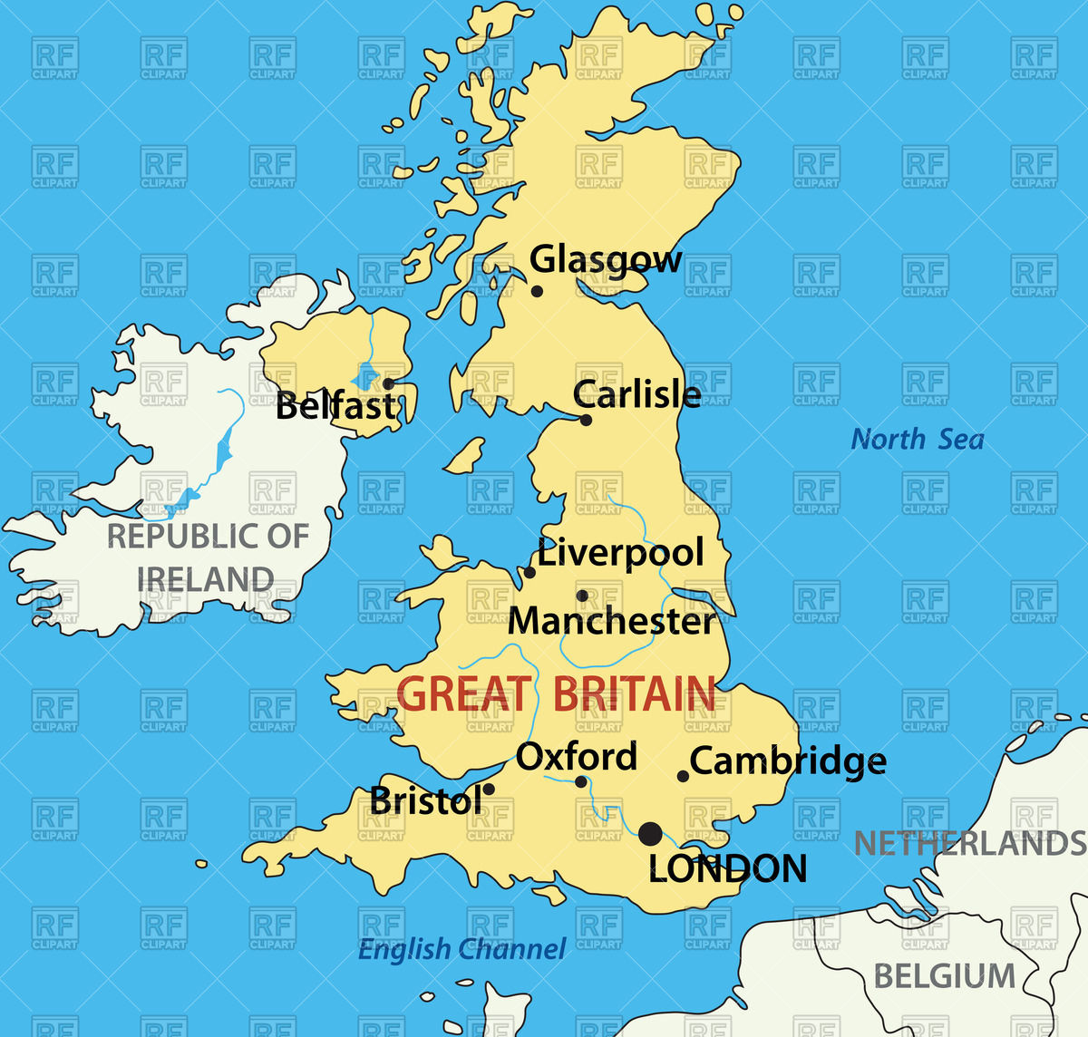 Map of the United Kingdom Stock Vector Image.