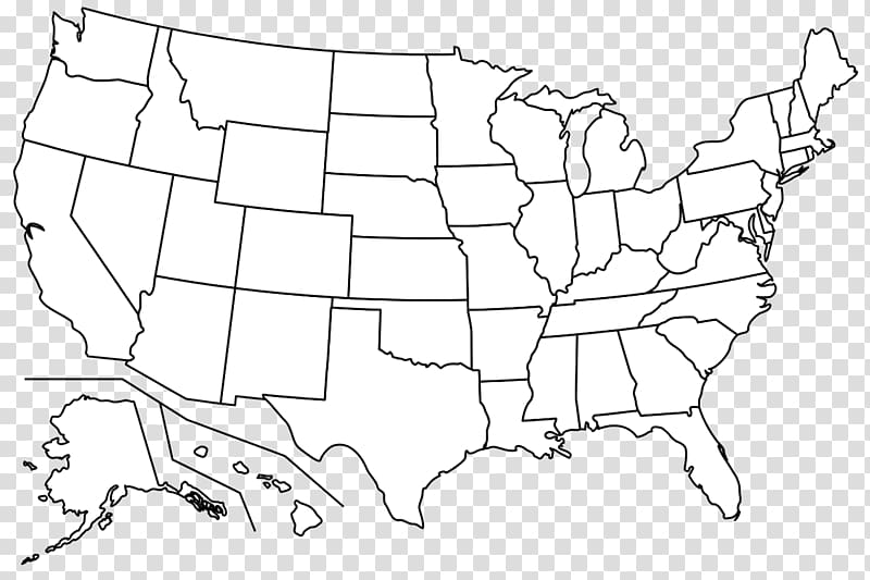 White and black U.S.A. map illustration, Blank map Western.