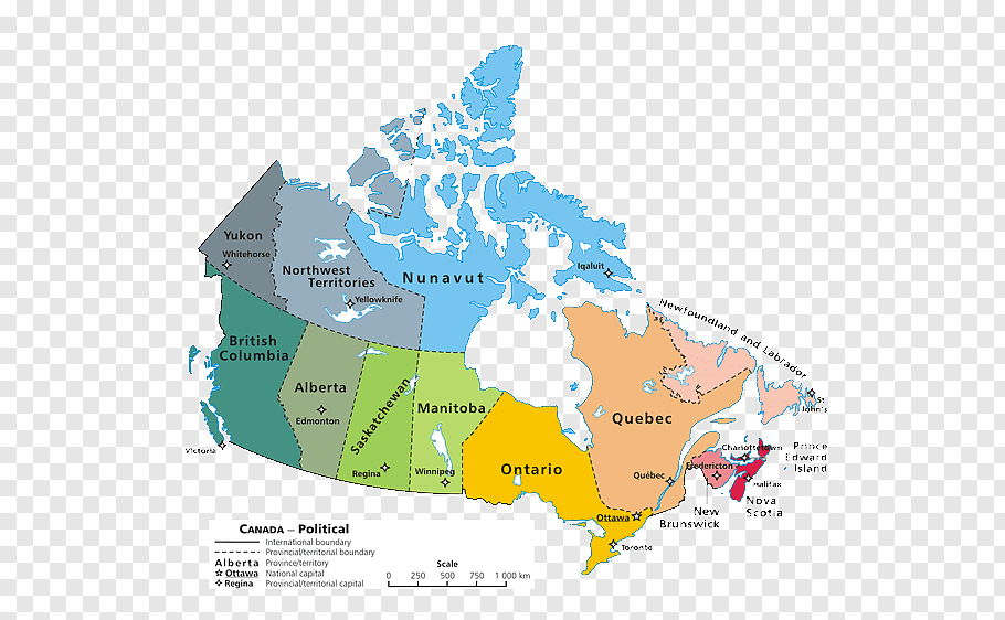 Provinces and territories of Canada Mapa polityczna.