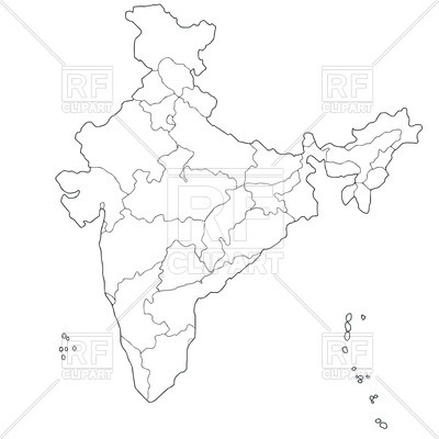Outline of map of Indian states.