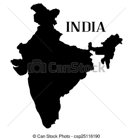 Stock Illustration of India Map Silhouette.