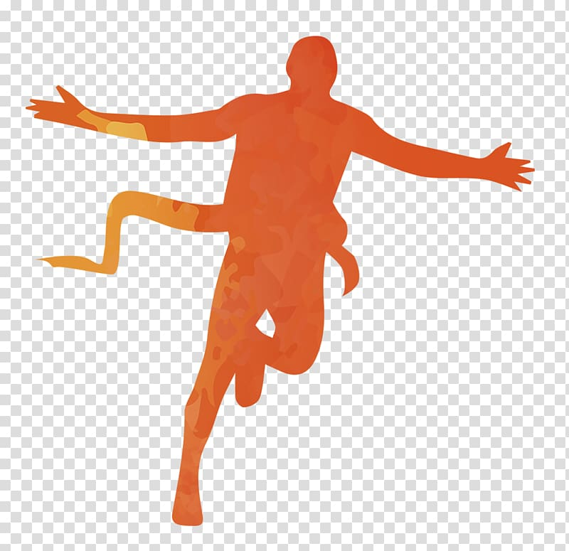 Sport Running Marathon, Orange silhouette figures transparent.