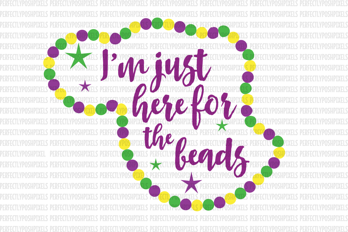 Mardi Gras SVG File DXF eps png jpg Beads and Bling Printable Clipart  Silhouette Studio Cameo Circuit Design Space Cut File Iron On Template.