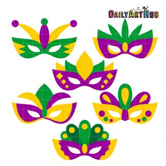 Mardi Gras Masks Clip Art Set.