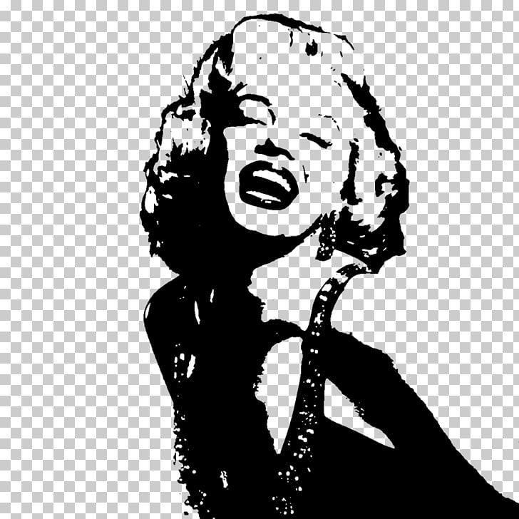 Stencil Black and white Art, marilyn monroe PNG clipart.