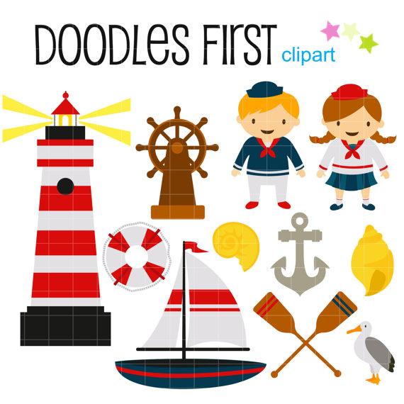 Marin Nautical Voyage avec Clip Art pour par DoodlesFirst sur Etsy.