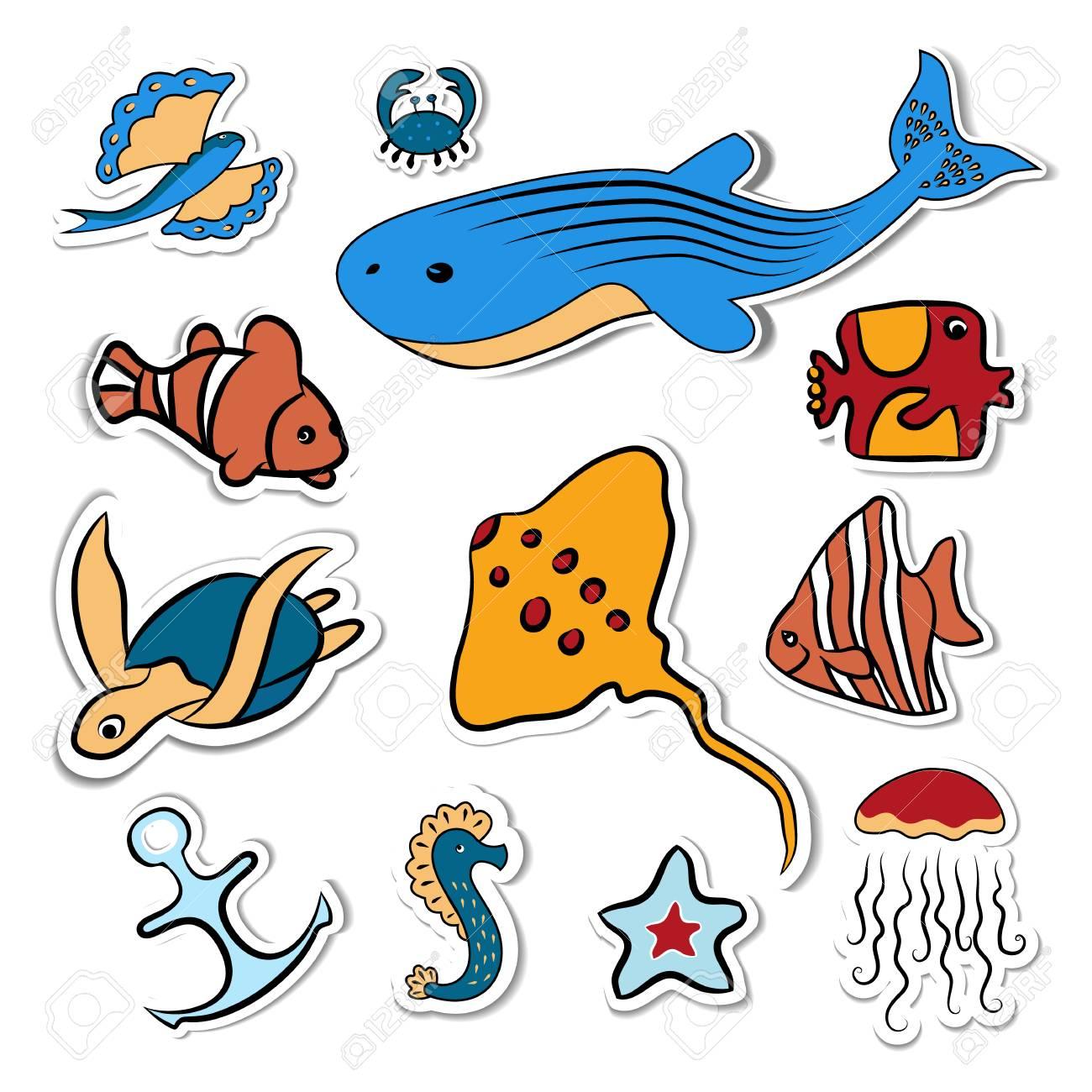 Clipart. Shells, fish, deep.