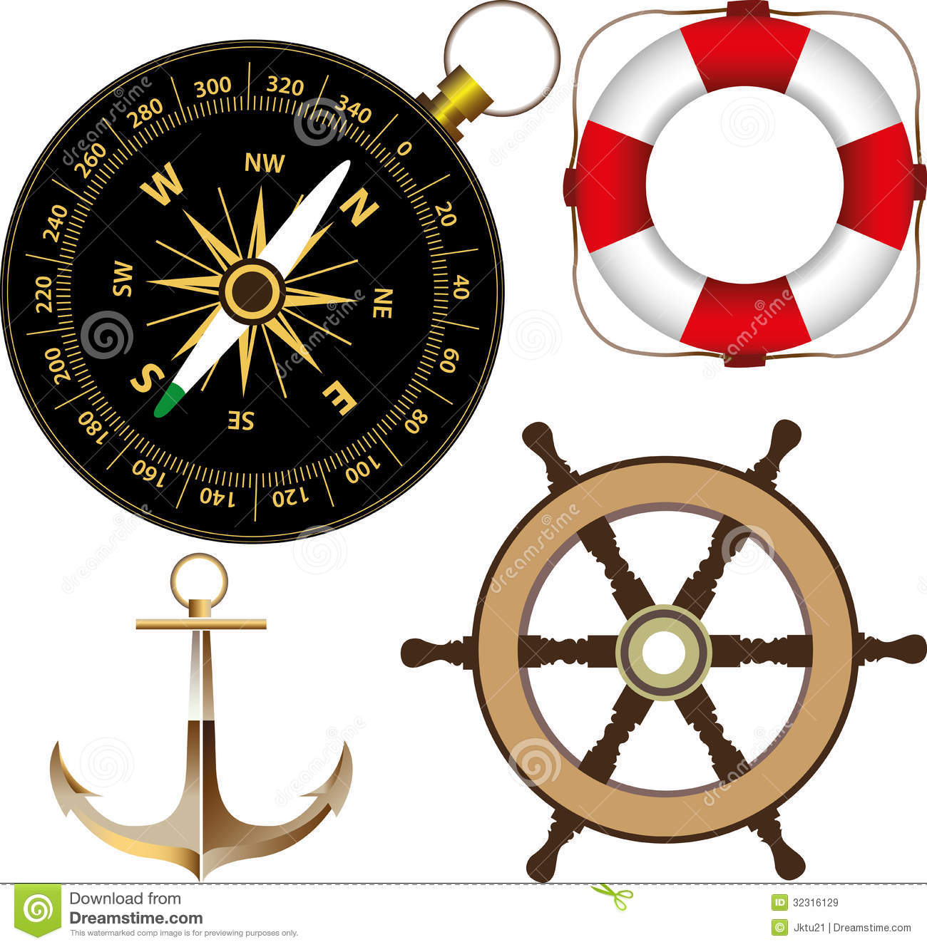 Marine accessories stock vector. Illustration of path.