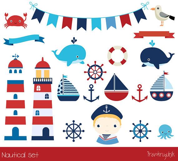 Cute nautical clipart, Lighthouse clip art anchor, Marine sailing.