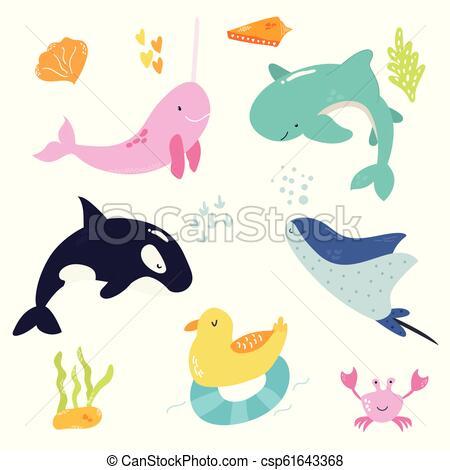Bright set with cute marine animals..