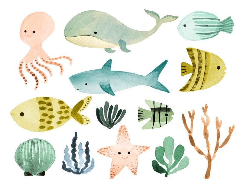 Ocean clipart, sea clipart, ocean animals clipart, nautical clipart, shark  clipart, whale clipart, fish clipart.