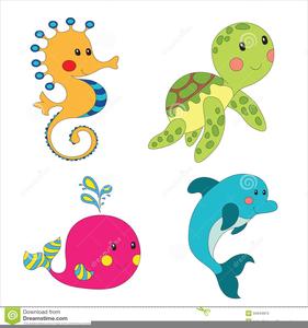 Cartoon Ocean Animals Clipart.