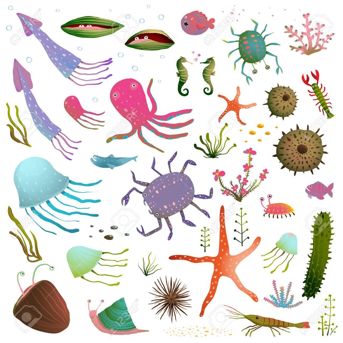 Colorful Sea Life Animals Isolated on White Cartoon Clip Art...