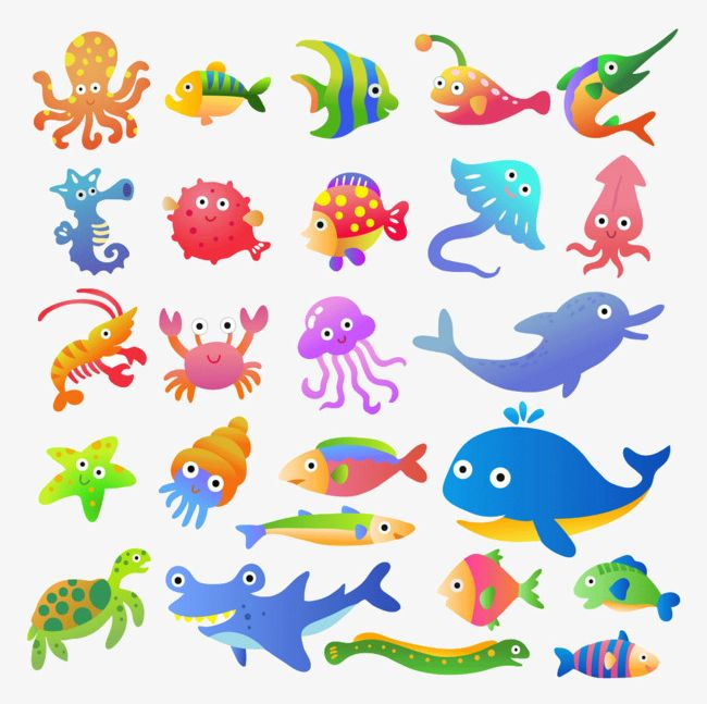 All Kinds Of Cartoon Marine Animals PNG, Clipart, Animal, Animals.