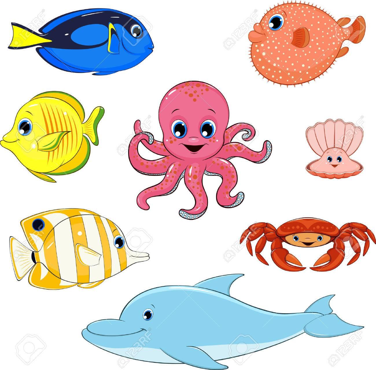 illustration set of marine animals.