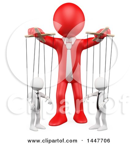 Clipart of a 3d White Business Man Puppeteer Handling Employees like.