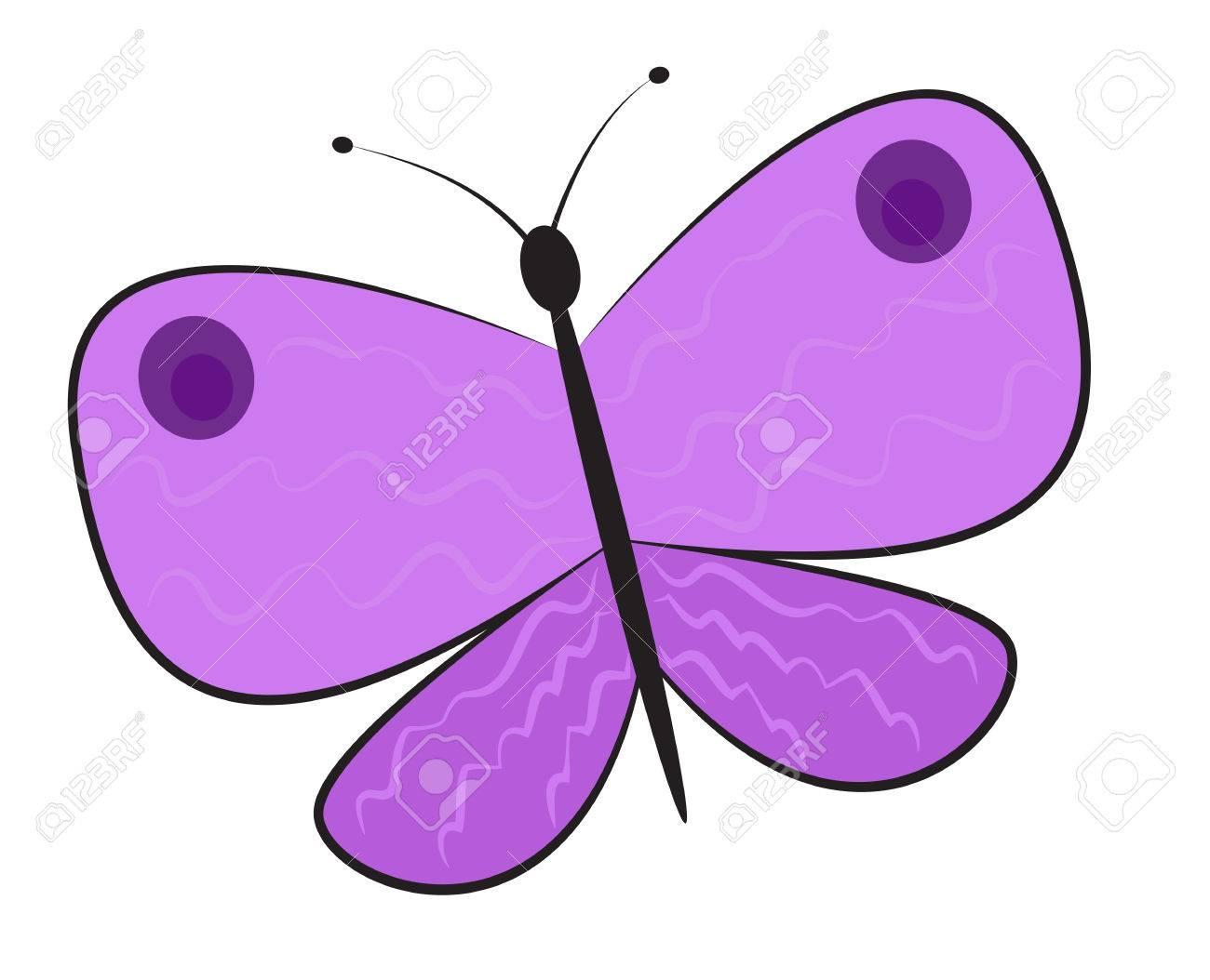 Simple caricatura mariposa púrpura. Clipart. ilustración vectorial.