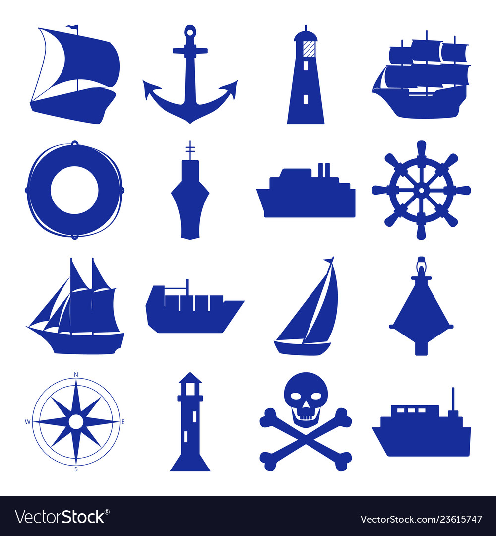 Marine collection of ship silhouette icons in flat.