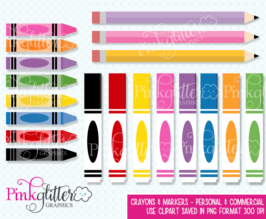 Crayons & Markers Clipart.
