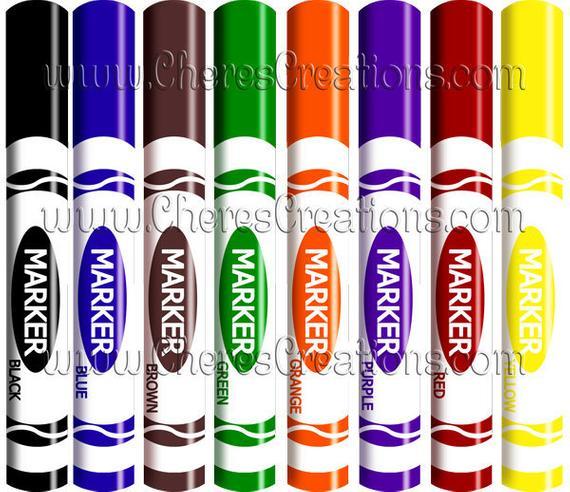 Markers Digital Clip Art.