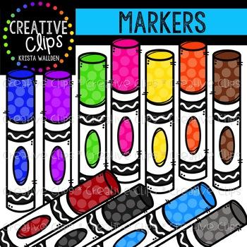 Rainbow Marker Clipart {Creative Clips Clipart}.