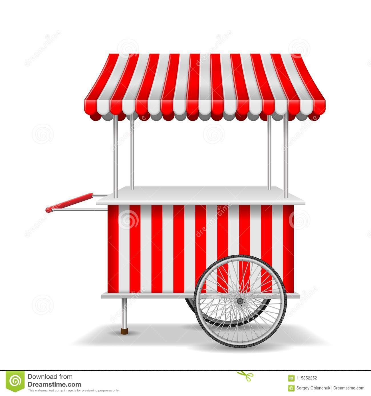 Realistic Street Food Cart With Wheels. Mobile Red Market Stall.