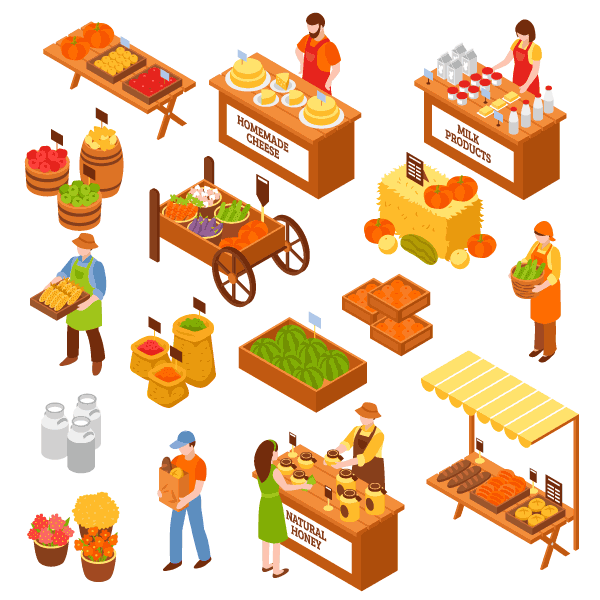 Farmers marketplace isometric free vector clipart.